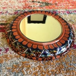 Hand Painted Clay Mirror - Made in Mexico 9 1/4 in